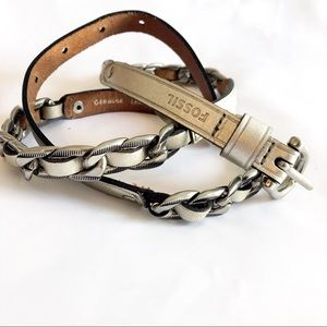Fossil metallic silver chrome braided skinny belt